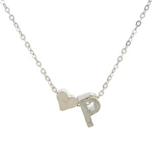 Jewelry - Gold/Silver P Initial Heart Charm Necklace